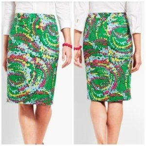 Talbots Petites Green Floral Pencil Career Skirt